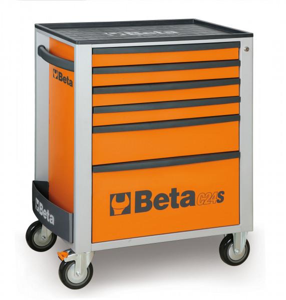 Beta 2400S 6 laden Gereedschapswagen met 249 Delige Easy Foam Inlay Oranje