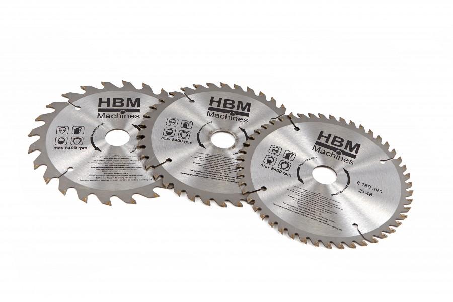 HBM 160 mm 3 Delige Profi Cirkelzaagbladenset voor Festool invalzaag
