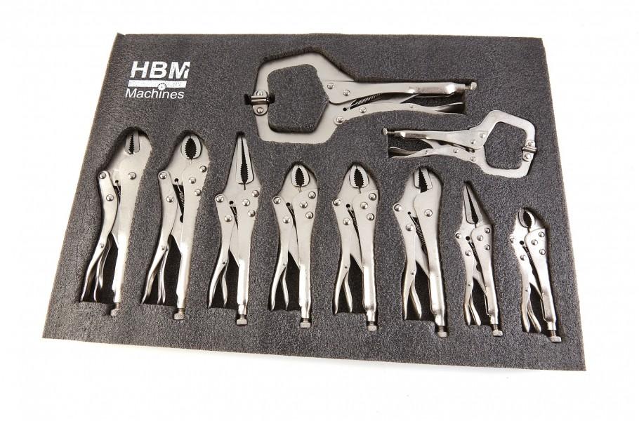 HBM 10 Delige Griptangen Foam inlay voor Gereedschapswagen
