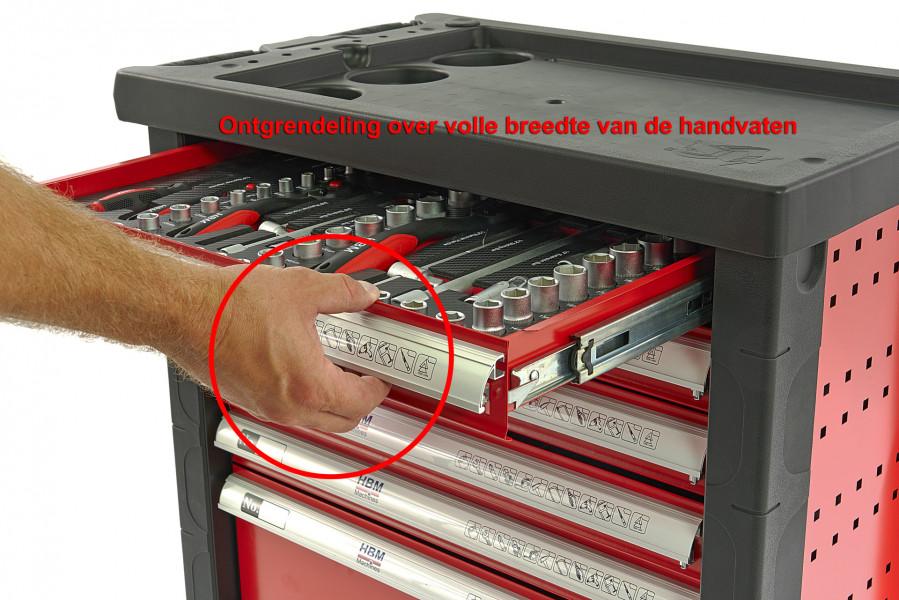 HBM 154 Delige Premium Gevulde gereedschapswagen - ROOD