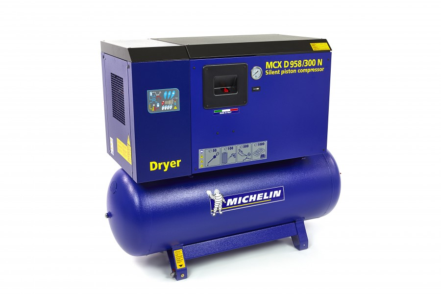 Michelin 7,5 PK 270 Liter Gedempte Compressor MCXD 958/300N MET DROGER