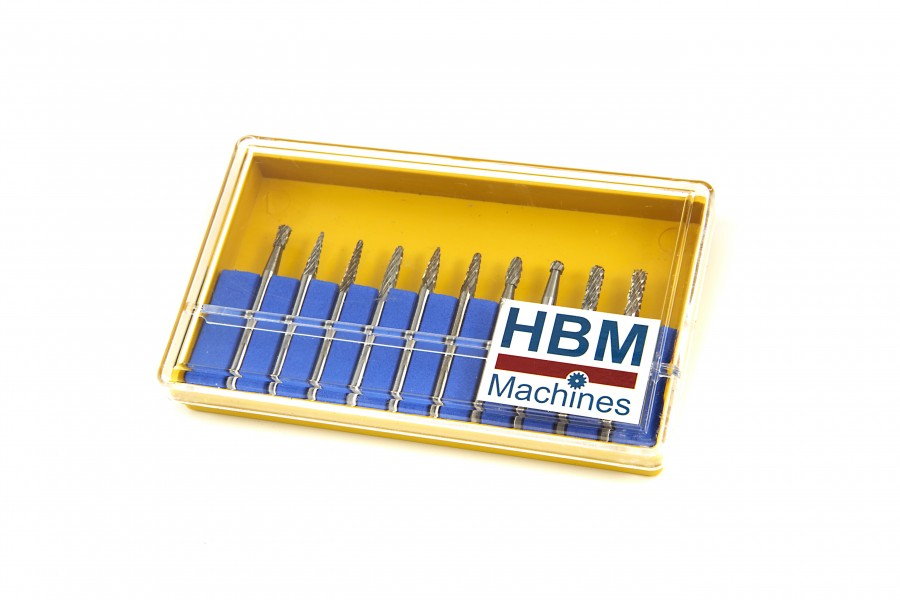 HBM 10 Delige HM Frezenset met 3 mm Opname
