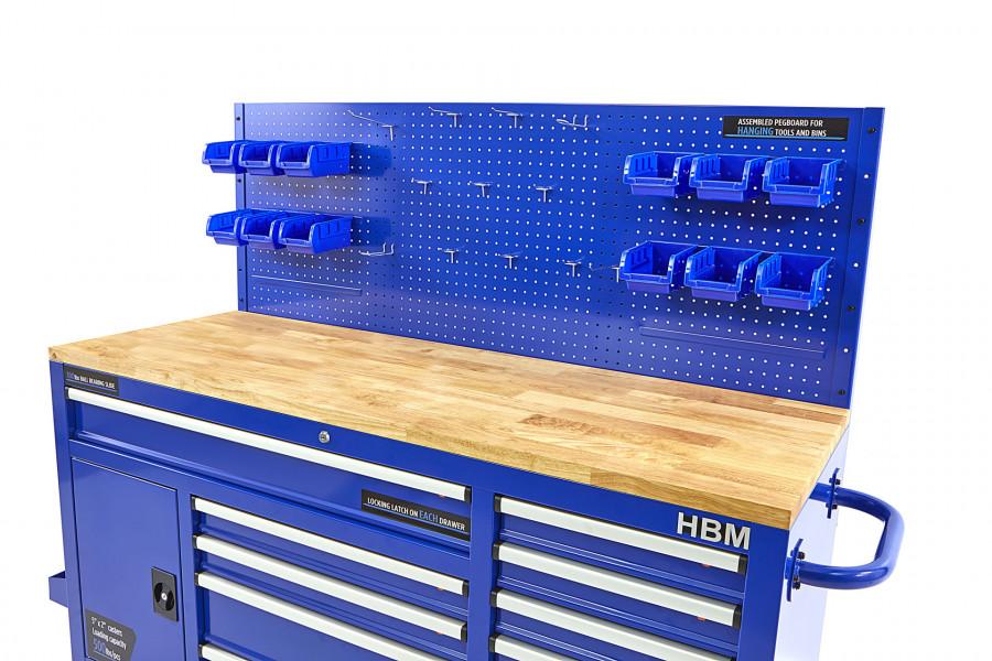 HBM 158 cm 10 Laden Werkbank met Deur en Achterwand – BLAUW