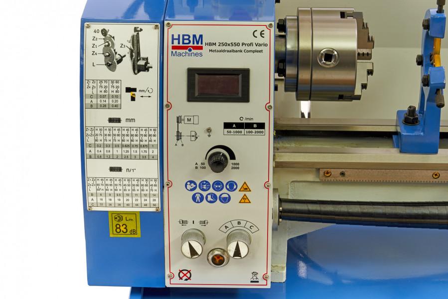 HBM 250 x 550 Profi Vario DRO Metaaldraaibank Compleet
