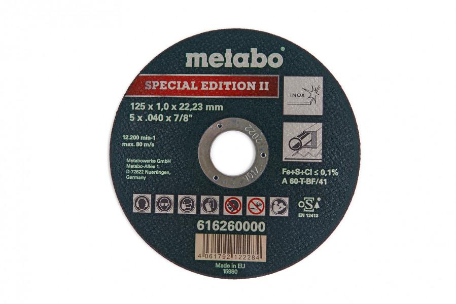 Metabo 125 x 1 mm. Doorslijpschijf voor RVS - Special Edition II