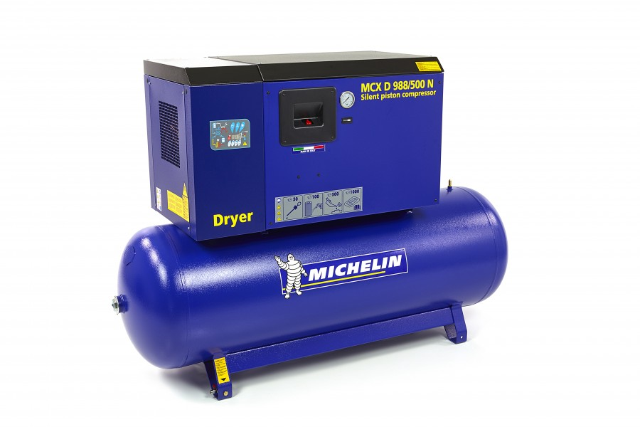 Michelin 10 PK 500 Liter Gedempte Compressor MCXD 988/500 N MET DROGER