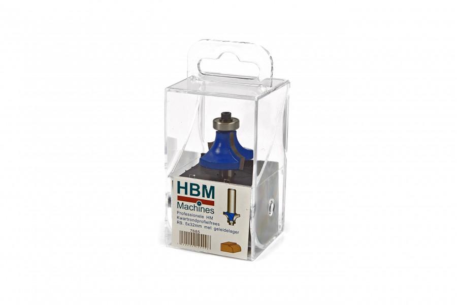 HBM Professionele HM Kwartrondprofielfrees R9,5 x 32 mm. Met Geleidelager
