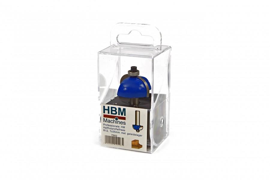 HBM Professionele HM Halfholprofielfrees R12,7 x 35 mm. Met Geleidelager