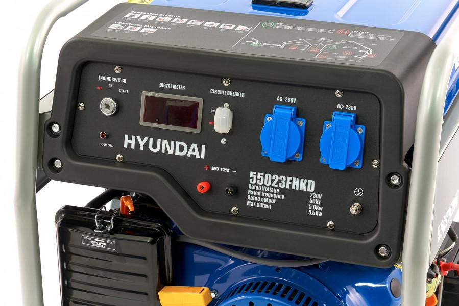 Hyundai HHY7000Fe Generator, Aggregaat 5,5 Kw, 390cc OHV-Benzinemotor