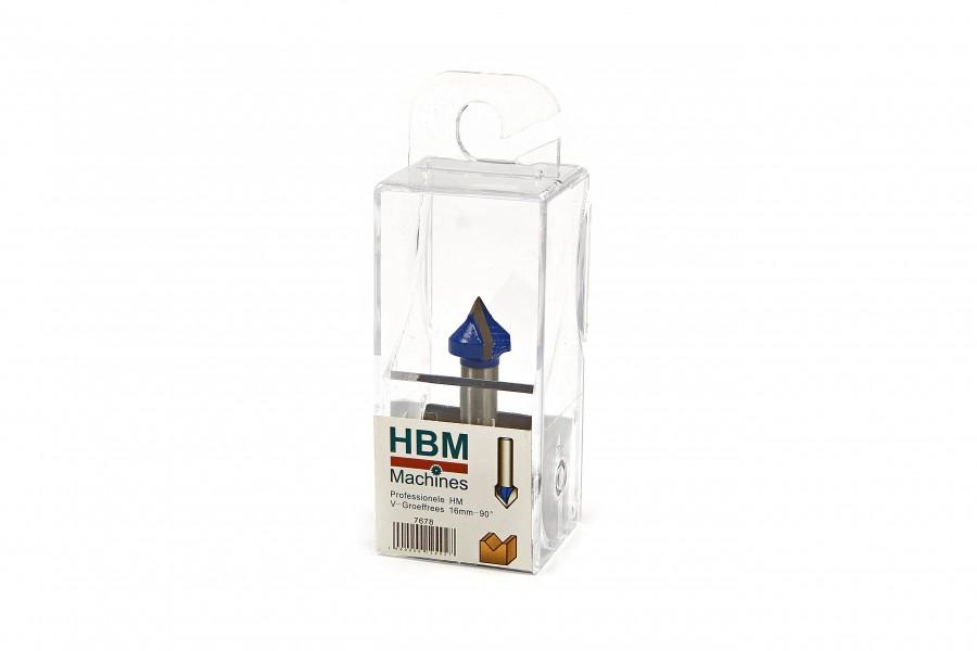 HBM Professionele HM V-Groeffrees 16 mm. - 90 graden hoek.