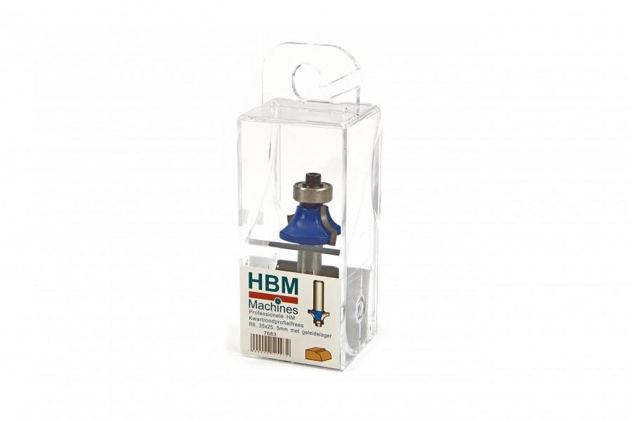 HBM Professionele HM Kwartrondprofielfrees R6,35 x 25,4 mm. Met Geleidelager