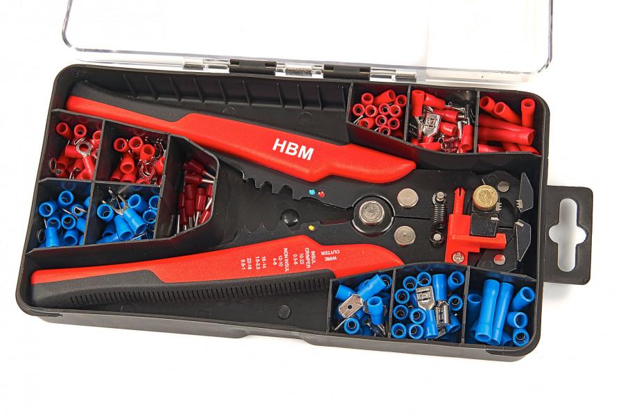 HBM 199 Delige Profi 4 in 1 Automatische Draadstriptang met Knip en Krimpfunctie Inclusief 199 Kabelschoentjes
