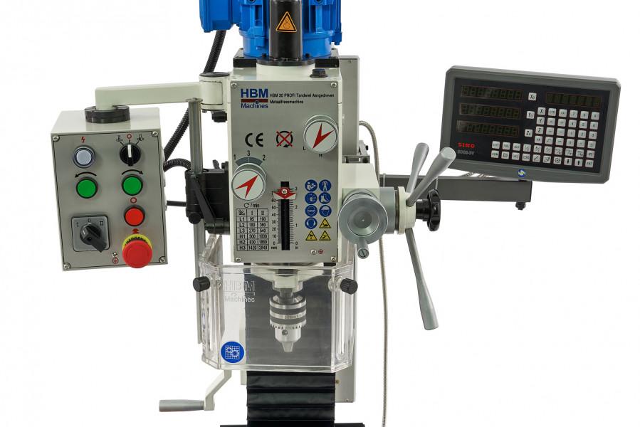 HBM 30 DRO PROFI Tandwiel Aangedreven Metaalfreesmachine