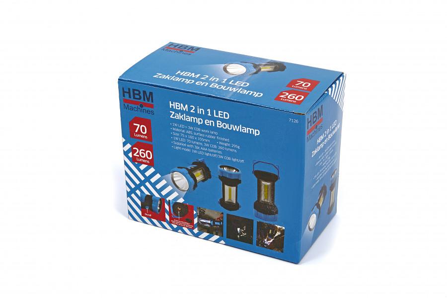 HBM 2 in 1 LED Zaklamp en Bouwlamp