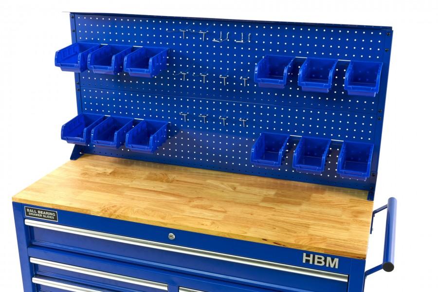 HBM Achterwand Met 12 Bakken en 12 Haken voor de HBM 117 Cm Verrijdbare Gereedschapswagen BLAUW