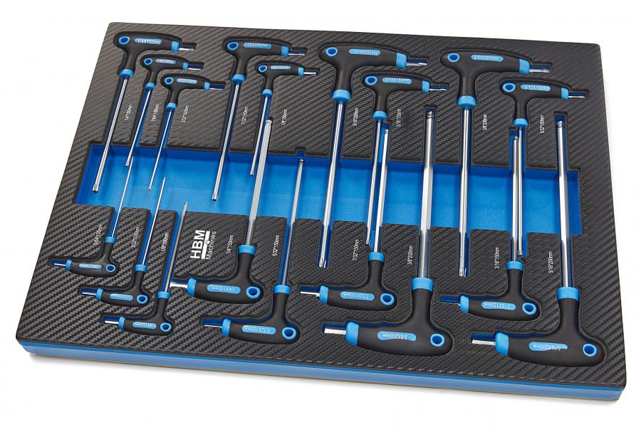HBM 18 Delige T-Grepen INCH Maten Carbon Foam inlay voor Gereedschapswagen