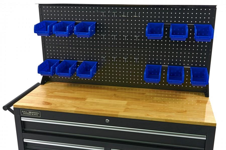 HBM Achterwand Met 12 Bakken en 12 Haken voor de HBM 117 Cm Verrijdbare Gereedschapswagen ZWART