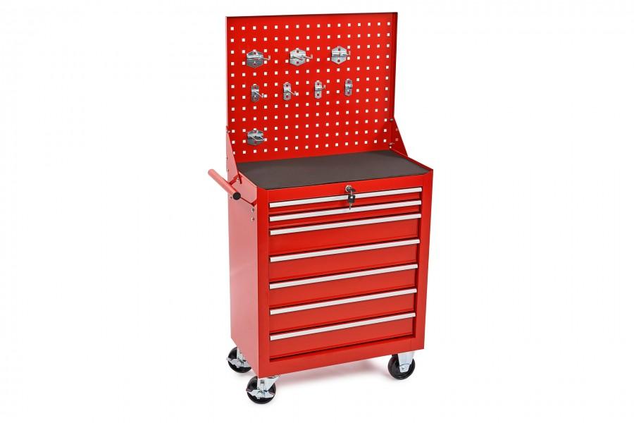 HBM 7 Laden Gereedschapswagen met Gereedschapswand en 8 Haken – Rood