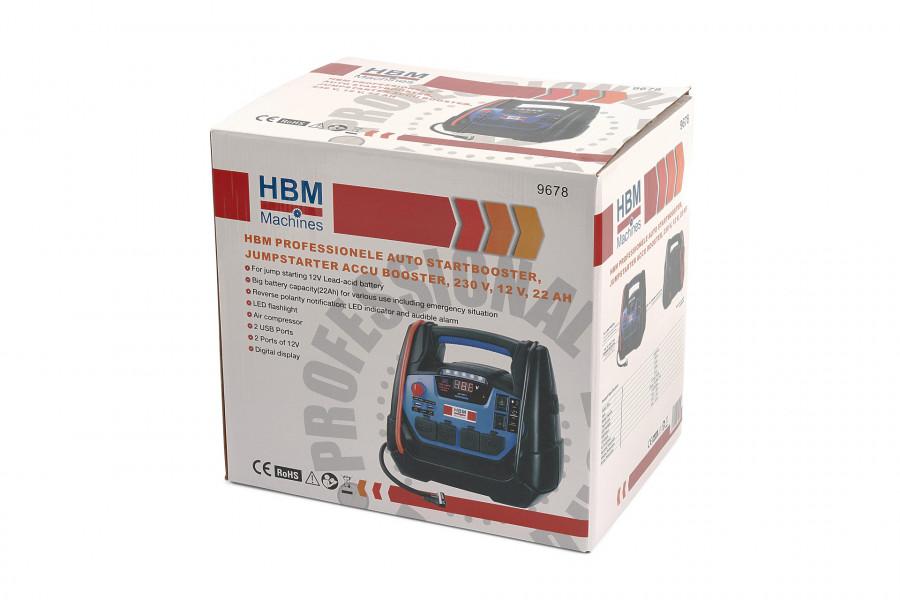 HBM Professionele Auto Startbooster, Jumpstarter Accu Booster, 230 V, 12 V, 22 Ah