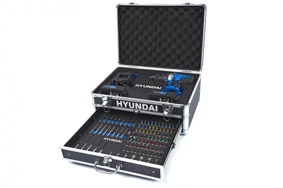 Hyundai Professionele 20V 2.0Ah  Accuboormachine In Alu Koffer met 100 Delige Accessoires