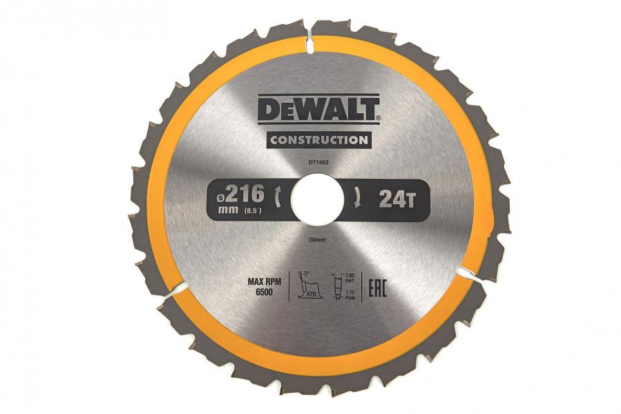DeWalt Cirkelzaagblad - 216 x 30 x 24T - Hout (Met nagels) - DT1952-QZ