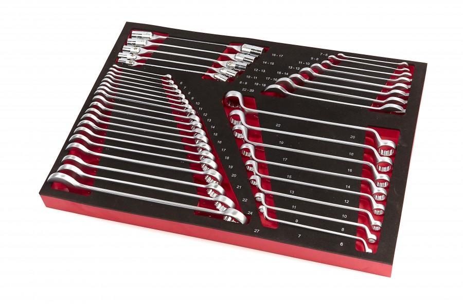 HBM 40 Delige Steeksleutel, Ringsleutel en Cardansleutelset Foam Inlay