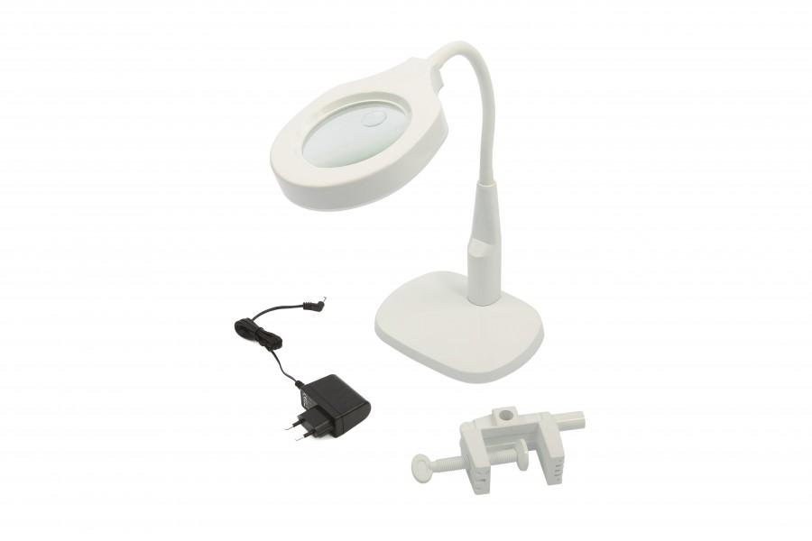 HBM 125 mm LED Loupe Lamp met Voet en Tafelklem
