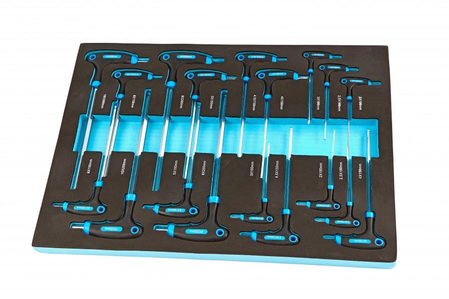 HBM 18 Delige T-Grepen Foam inlay voor Gereedschapswagen