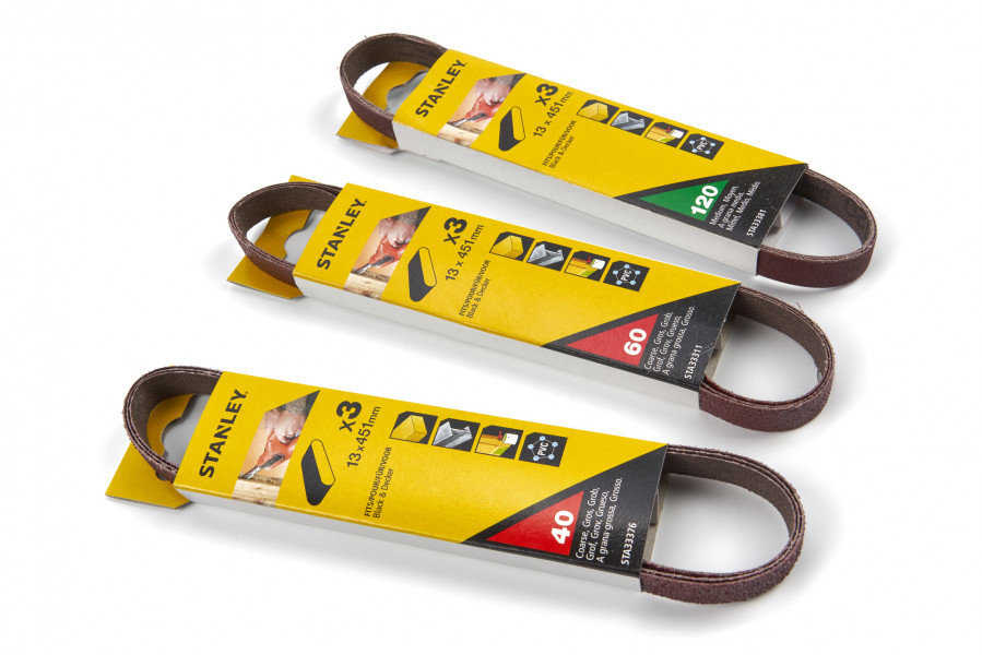 Stanley 3 Delige 13 x 451 mm. Schuurbandenset Voor De Black & Decker KA900E Powerfile