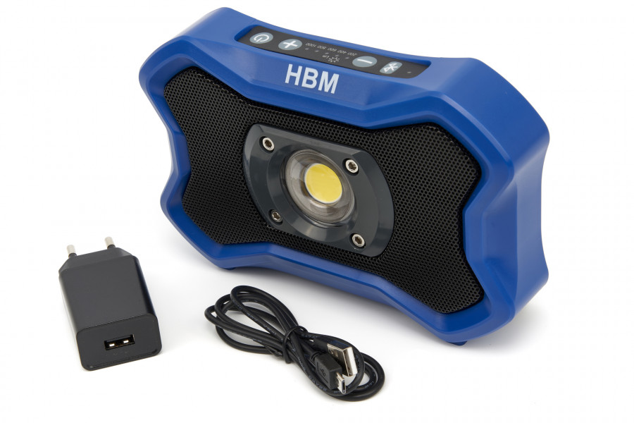 HBM 1000 Lumen Dimbare Oplaadbare LED Bouwlamp Met Bluetooth Speaker