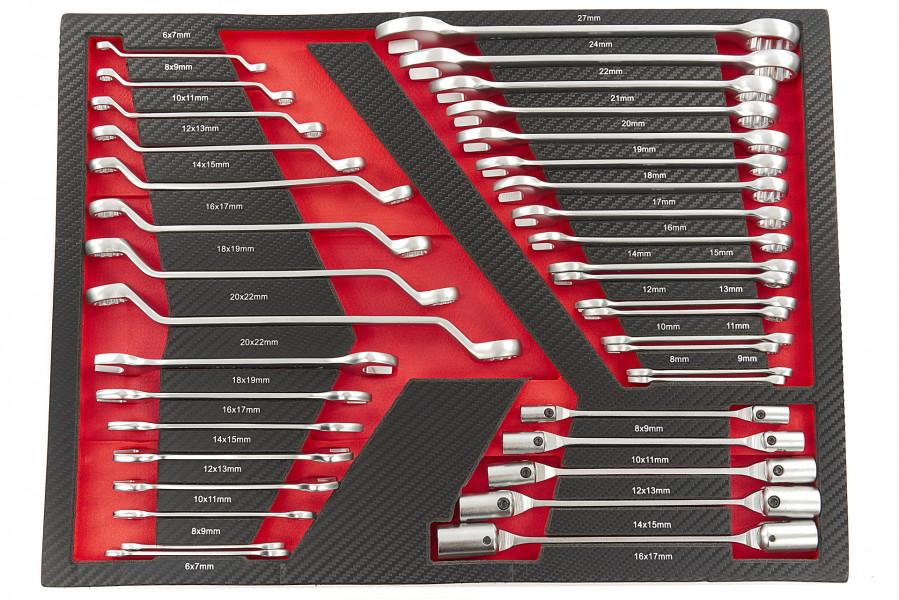 HBM 38 Delige Ringsleutel, Steekleutel en Cardansleutelset in Carbon Foam inlay voor Gereedschapswagen