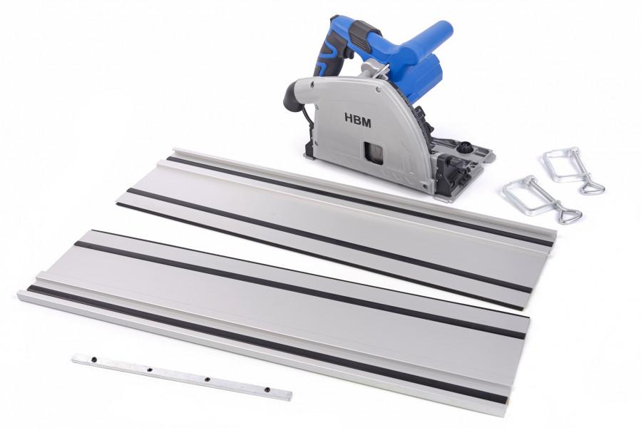 HBM 165 mm Professionele 1200 Watt Invalzaag, Liniaalzaag met 2 x 700 mm Liniaal