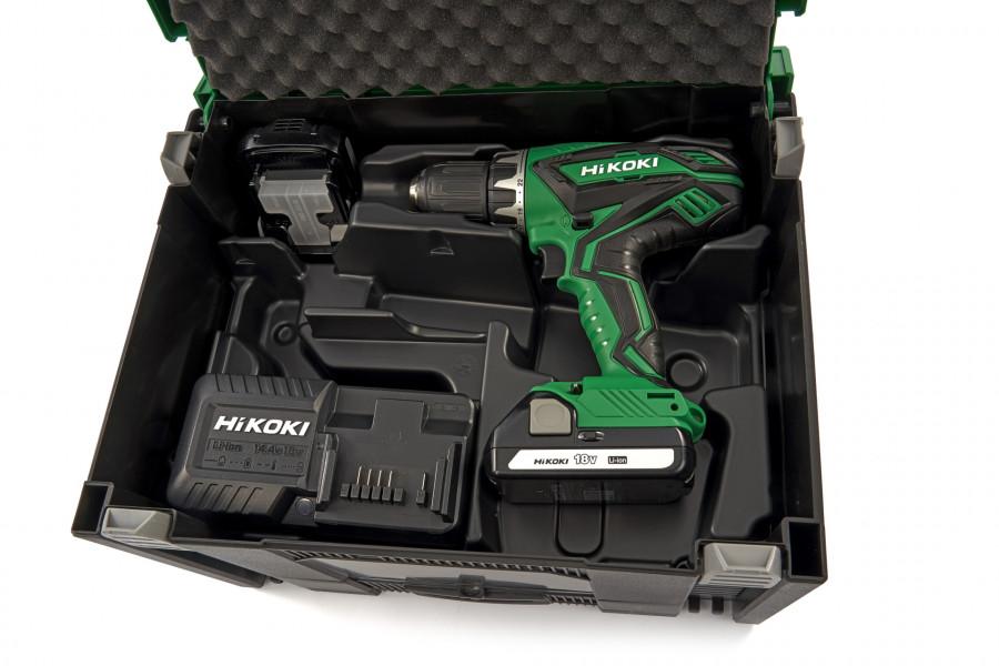 Hikoki accu boor-/schroefmachine 18 Volt, met twee accu's 1,5Ah en lader. In stapelbare systainer en lade gevuld met 100-delige accessoireset
