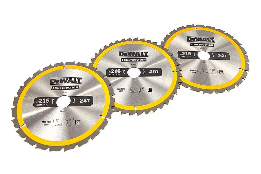 DeWALT DT1962-QZ 3 Delige Cirkelzaagbladen Set 216x30mm 2x24Tands 1x40Tands
