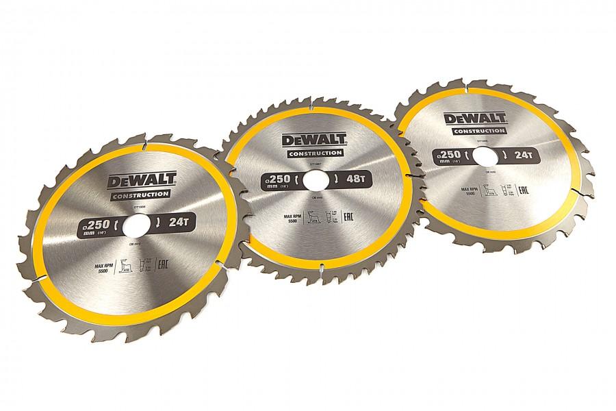 DeWALT DT1963-QZ 3 Delige Cirkelzaagbladen Set 250x30mm 2x24Tands 1x48Tands