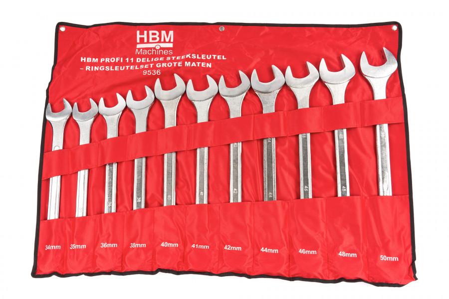 HBM Profi 11 Delige Steeksleutel – Ringsleutelset GROTE Maten
