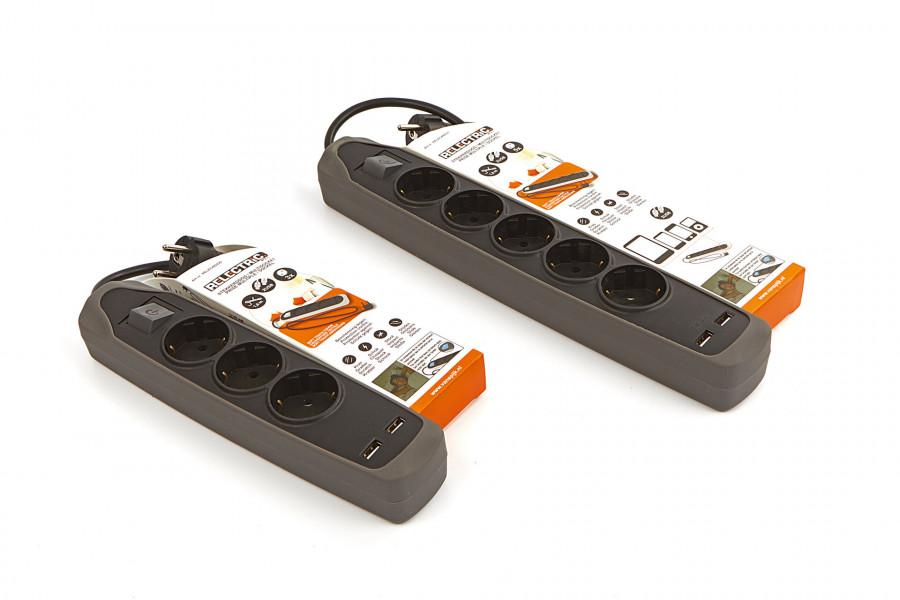 Relectric 1,5 Meter 3 Voudige Stekkerdoos met 2 x USB Ingang