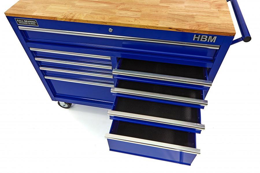 HBM 117 cm Verrijdbare Gereedschapswagen Werkbank + Houten Blad Blauw