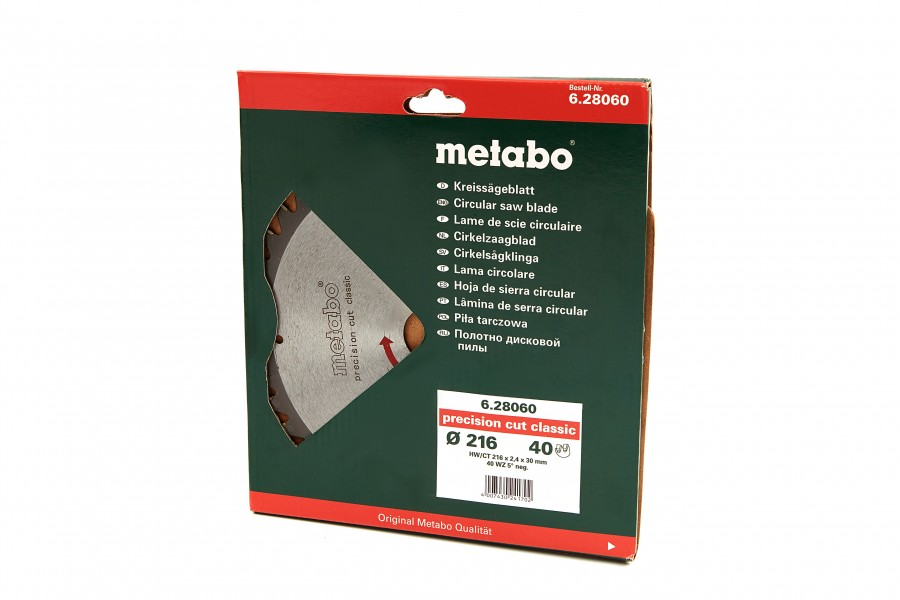 Metabo 216 x 2,4 x 30 mm Zaagblad voor Hout 40T
